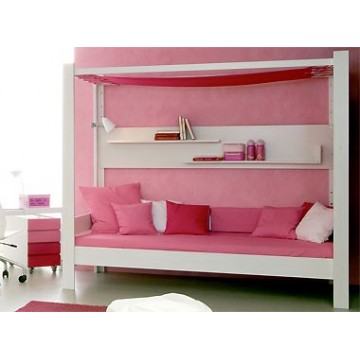 lit enfant bas baldaquin non volutif de style bambins d co. Black Bedroom Furniture Sets. Home Design Ideas