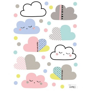 Stickers Nuage et pois multicolore