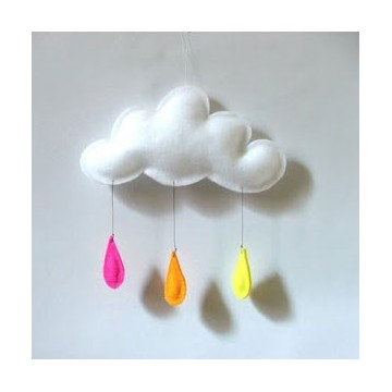 Mobile nuage Rose-Orange-Jaune