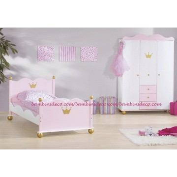 chambre enfant princesse lit armoire 2 portes bambins d co. Black Bedroom Furniture Sets. Home Design Ideas
