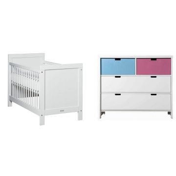 Lit b b commode blanc mix et match bopita bambins d co for Lit et commode